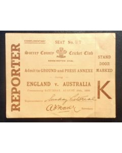 cricket memorabilia, Scarce 'Reporters' match ticket