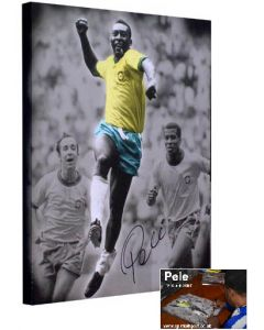 Pelé celebrating the first goal with Jairzinho and Toastao rushing to congratulate him.