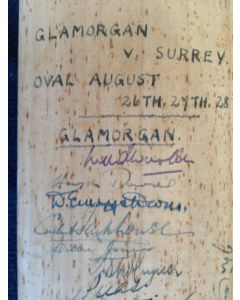 signed cricket bat surrey v glamorgan 1953 1