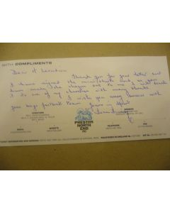 Tom Finney England  - Hand Signed Football Letter