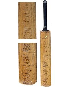 a cricket bat signed by the 1935 England and South African touring team.