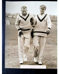 Don Bradman at Headingley helped off pitch
