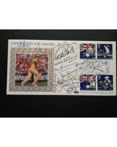 first day cover signed by 12 ashes players
