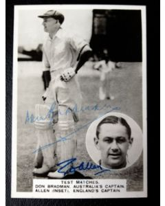 don bradman and gubby allen signed card