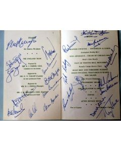 Cricket Menu signed by 22