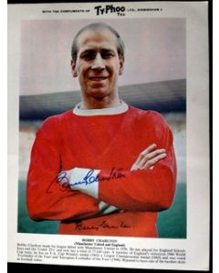 signed football photo bobby charlton