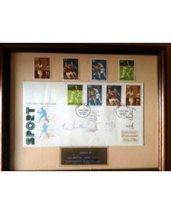 *Len Hutton Henry Cooper Chris Chataway Cliff Morgan Signed  Framed Sport first day cover