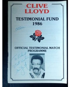 clive lloyd signed dinner menu
