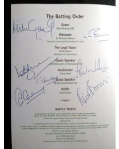 *Keith Brown Benefit Dinner Menu 6 Autographs