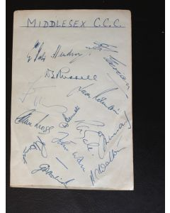 Middlesex CCC Autographs 1950s