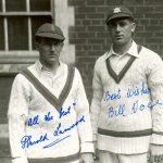 Harold Larwood Notts, Eng 1924-1938 and Bill Voce Notts, Eng 1930-1947, Bold signed photograph